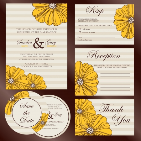 Set of wedding invitation cards Stock Vector - 22166607