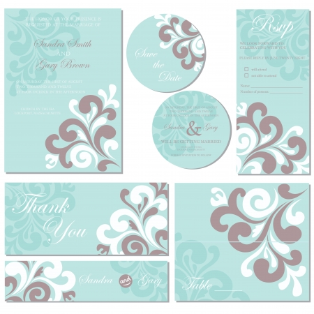 Set of wedding invitation cards Illustration