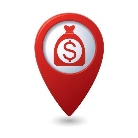 赤い地図ポインターにドル記号とお金の袋