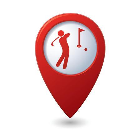 ゴルフのアイコンが付いた赤い地図ポインター  イラスト・ベクター素材