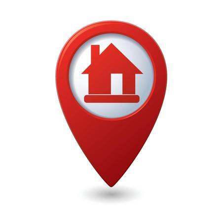 ホームのアイコンが付いたマップ ポインター  イラスト・ベクター素材