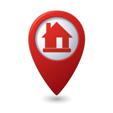 Map pointer with home icon Vector