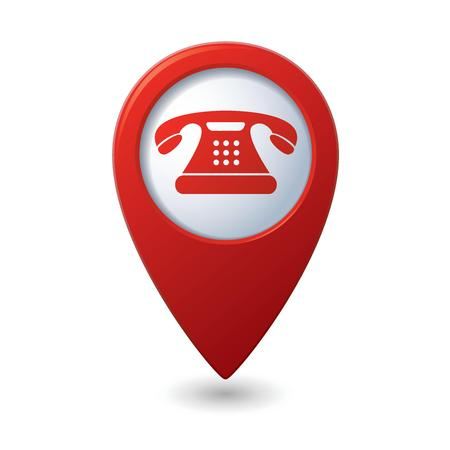 dialing: Map pointer with telephone icon