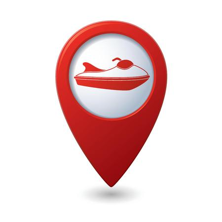 boat motor: Red map pointer with water scooter icon