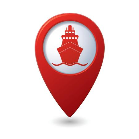 Red map pointer with ship icon Vector