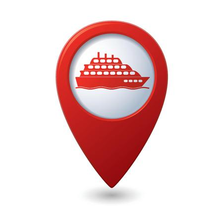 wharf: Map pointer with ship icon Illustration