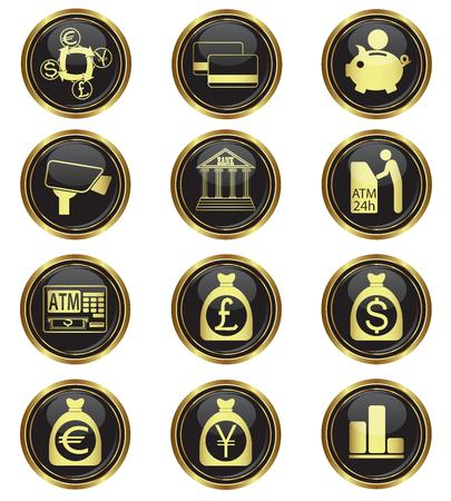 Finance and money icons on black with gold buttons  Vector illustration Stock Vector - 22311140