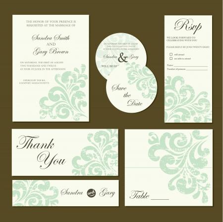 Set Of Wedding Invitation Cards Invitation Thank You Card