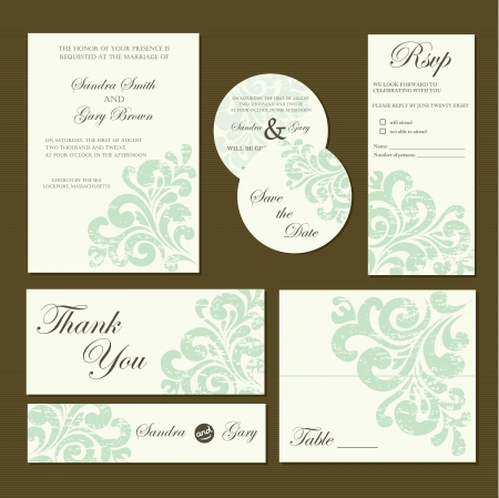 Set van uitnodigingskaarten uitnodiging, dank je kaart, RSVP, sparen de datum Stock Illustratie