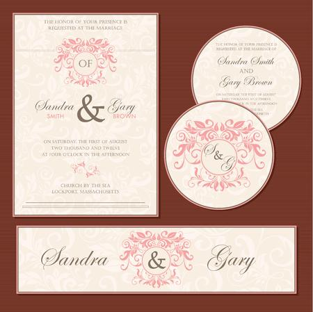 Set of wedding invitation cards  invitation, thank you card, RSVP card, save the date  Stock Vector - 22311149