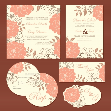 Set of wedding invitation cards  invitation, thank you card, RSVP card, save the date  Stock Vector - 22311154