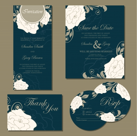 date: Set of wedding invitation cards  invitation, thank you card, RSVP card, save the date