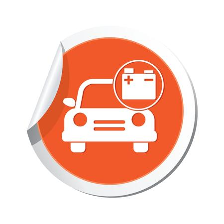 Car service  Car with accumulator icon Vector