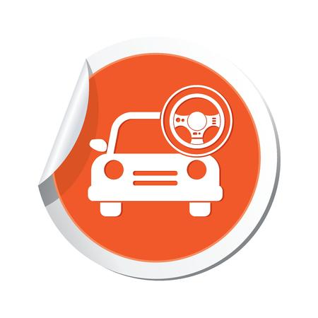 Car service  Car with steering wheel icon Vector