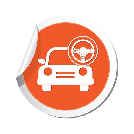 steering wheel: Car service  Car with steering wheel icon