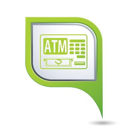 cash dispenser: Green map pointer with ATM cashpoint icon