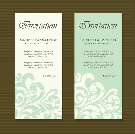 Vintage uitnodigingskaarten Stock Illustratie