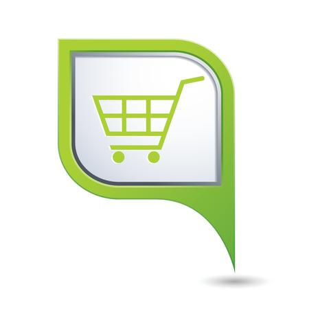 market place: Green map pointer with shopping cart icon