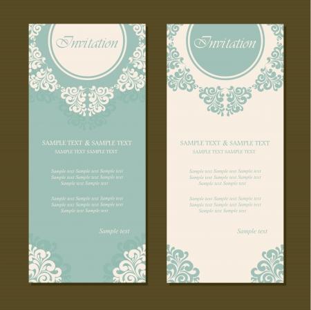 tarjeta de invitacion: Tarjetas de invitación Vintage Vectores