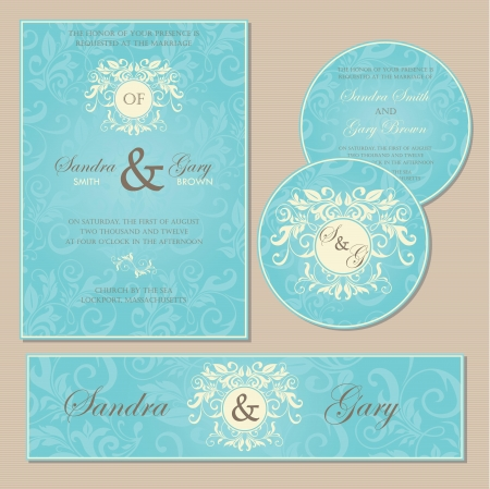 Set of vintage floral wedding invitation cards