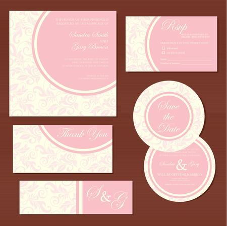 tarjeta de invitacion: Conjunto de flores tarjetas de invitación de la boda de época Vectores