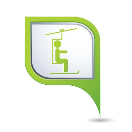 chairlift: Map pointer with skier on the chair lift icon  Vector illustration Illustration