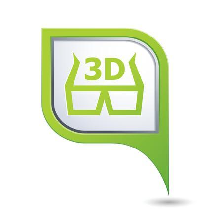 cinematografico: Mapa puntero con gafas 3D icono ilustraci�n vectorial