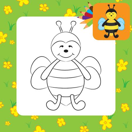 Cute cartoon bee  Coloring page  Vector illustration Vector