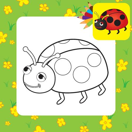 Coloring page  Ladybug  Vector illustration Vector