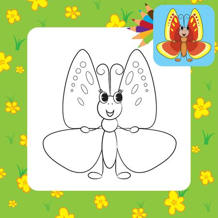 black butterfly: Coloring page  Cute cartoon butterfly Vector illustration Illustration