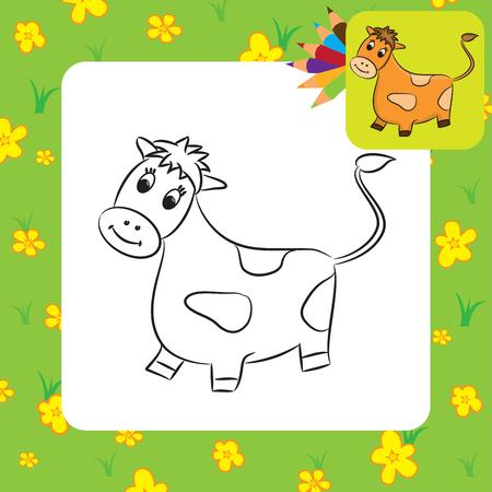 Cartoon cow  Coloring page  Vector illustration Vector