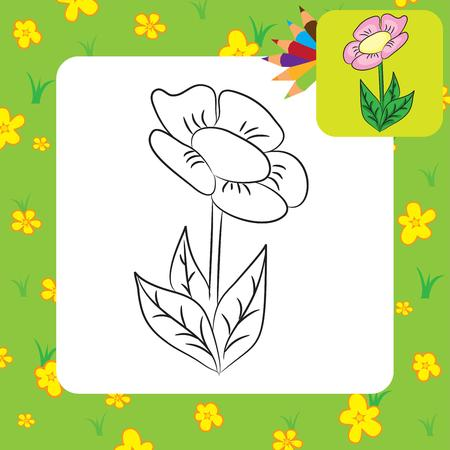 Coloring page  Cartoon flower  Vector illustration Stock Vector - 22895454