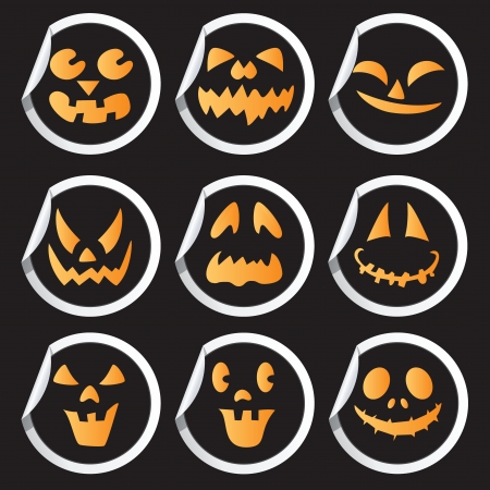 Scary faces of Halloween pumpkin stickers  Vector Vector