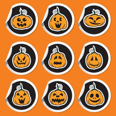 Halloween pumpkin stickers - vector illustration Stock Vector - 22895458