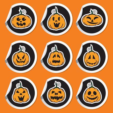 Halloween pumpkin stickers - vector illustration Stock Vector - 22895458