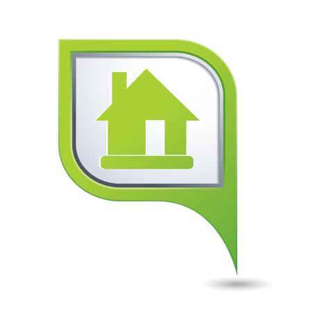 icono inicio: Mapa del puntero con el icono de casa ilustraci�n vectorial