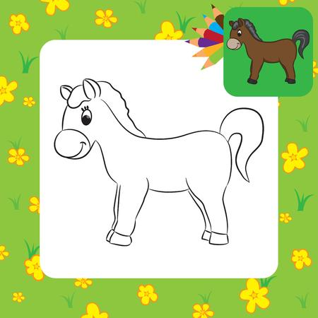 Cartoon horse  Coloring page  Vector illustration