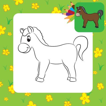 Paardbeeldverh Kleurplaat Vector illustratie