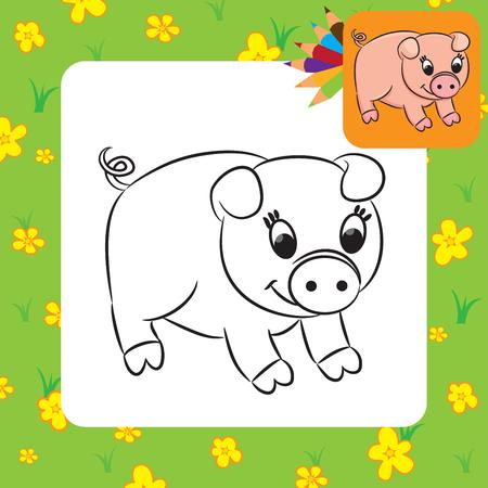Cartoon pig  Coloring page  Vector illustration  Vector