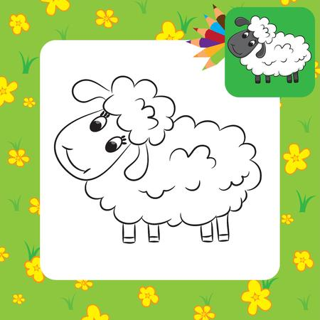 Cartoon sheep  Coloring page  Vector illustration Vector