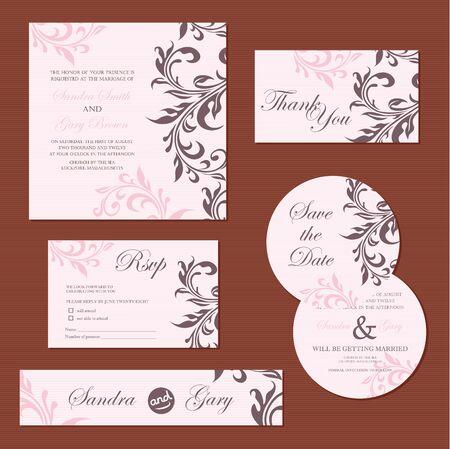 swirl backgrounds: Set di vintage nozze invito carte vettore