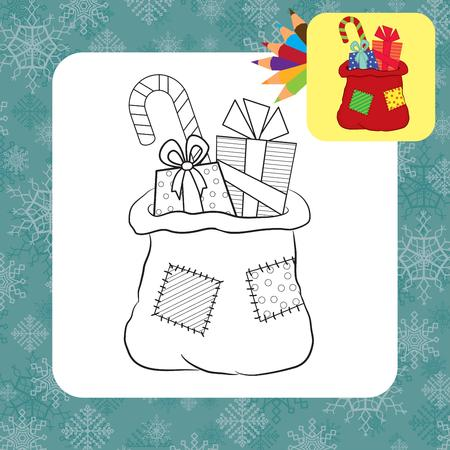Bag with gifts  Coloring page  Vector illustration Vector