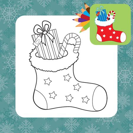 Christmas gifts  Coloring page  Vector illustration Vector