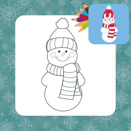 Muñeco De Nieve De Dibujos Animados Para Colorear Libro ...