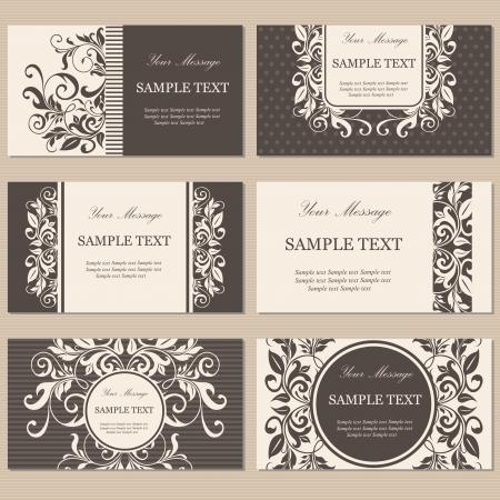 六つの花のビジネス カードのセット  イラスト・ベクター素材