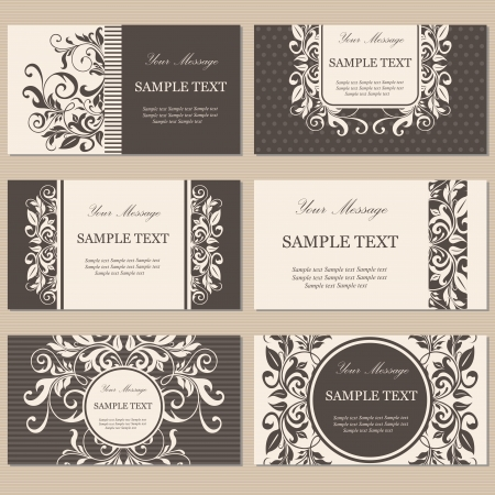 design floral: Set of six floral business cards Illustration