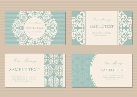 tarjeta de invitacion: Tarjetas de visita florales o invitación de la vendimia Vectores