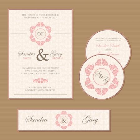 Beautiful vintage wedding invitation cards Ilustrace
