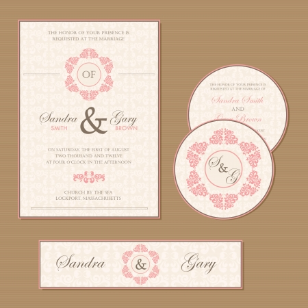 wedding gift: Beautiful vintage wedding invitation cards Illustration