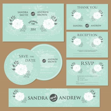 Beautiful vintage wedding invitation cards Vectores